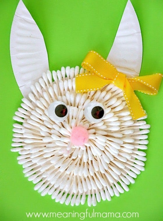 Bunny Craft Easter Q-Tips and Paper Plate Craft Kindergarten Apr 11, 2014, 2-056
