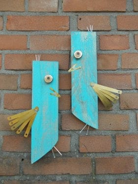 birds made from recycled materials