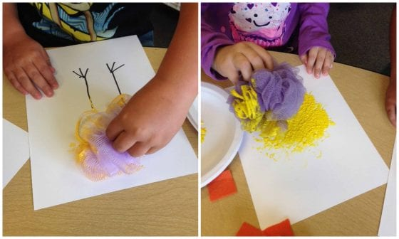 kids painting loofah chicks