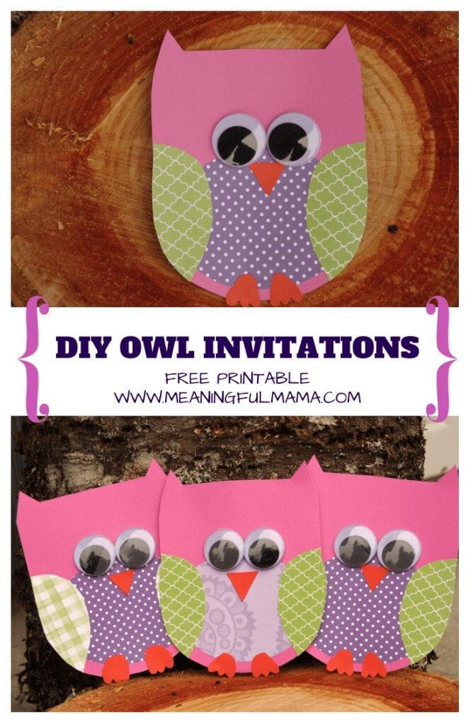 owl invitations diy free printable