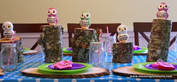 Owl Party Table Decorations And Giveaway - Birthday party table centerpiece ideas