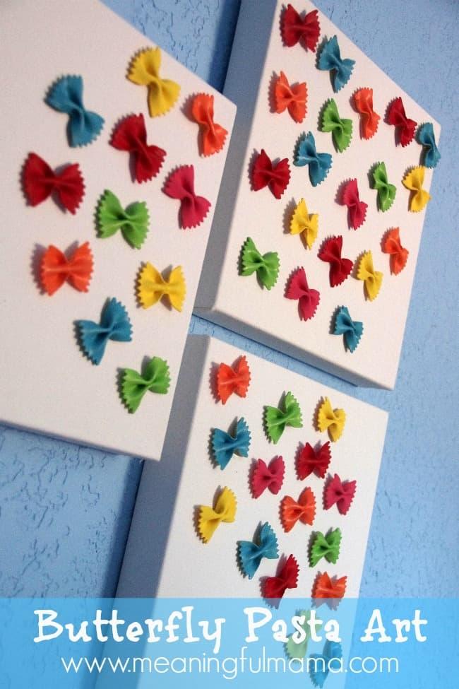 butterfly pasta canvas art craft kids