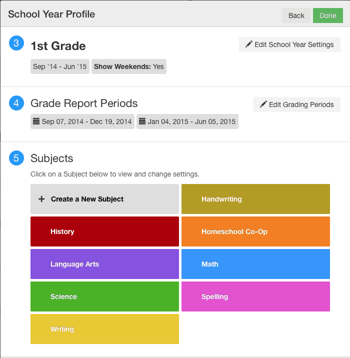 School year profile Screenshot