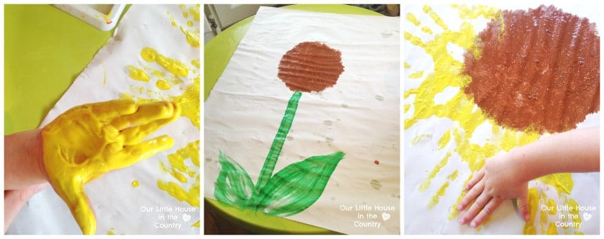 sunflowers handprint craft