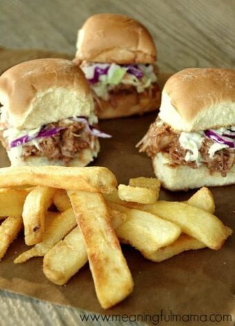 Slow Cooker BBQ Pulled Pork Sliders with a Side of Ore-Ida® Fries