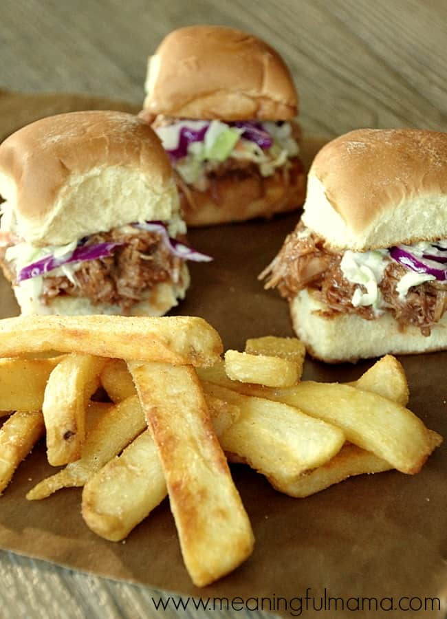 Slow Cooker Bbq Pulled Pork Sliders With A Side Of Ore Ida Fries