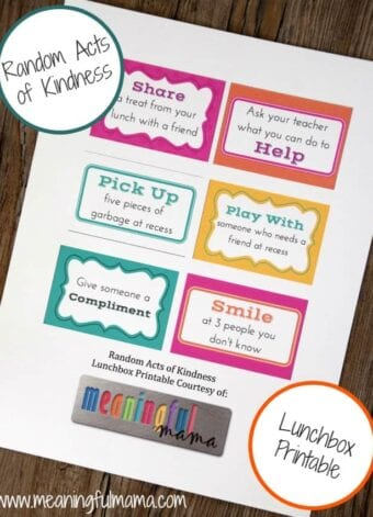 Random Acts of Kindness Lunchbox Printable