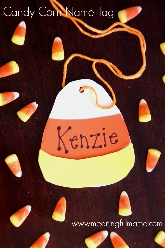 candy corn name tag harvest party ideas