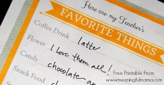 favorite things teacher printable