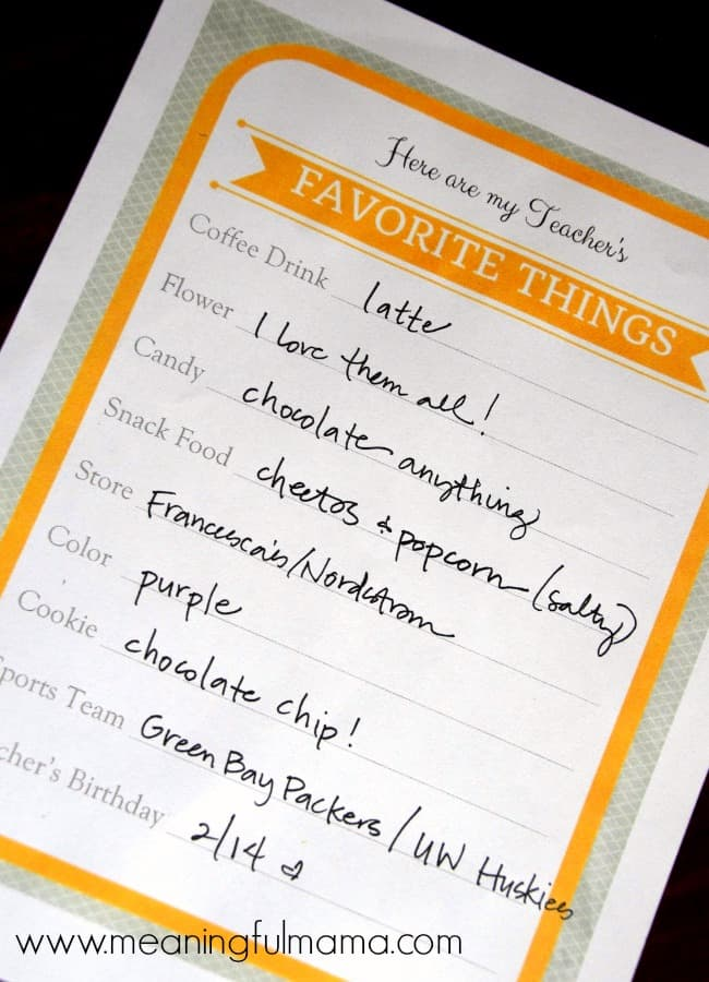 This is a picture of Breathtaking Teacher Favorite Things Printable