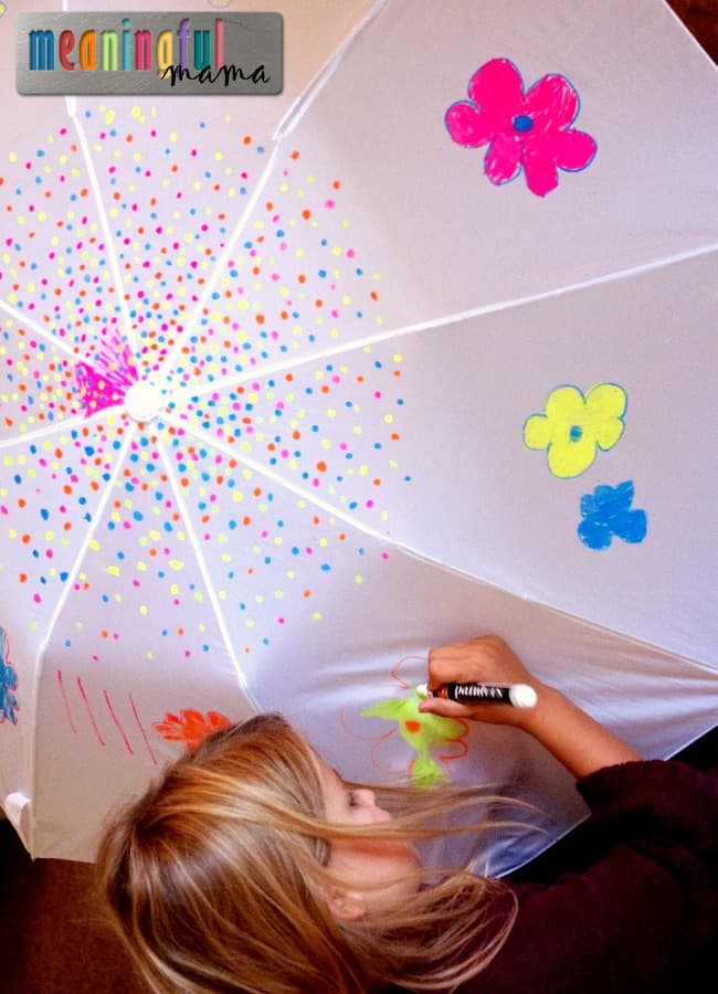decorate umbrellas fall craft kids