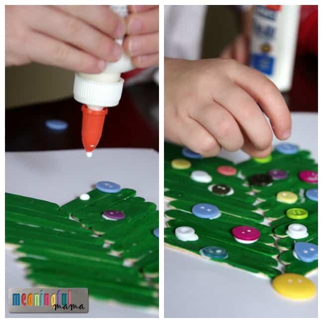 popsicle stick Christmas tree craft kids preschool
