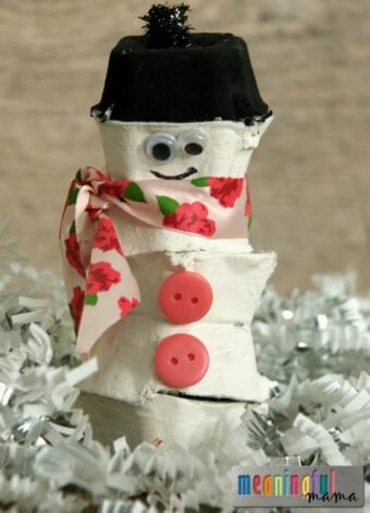 Egg Carton Snowman Craft