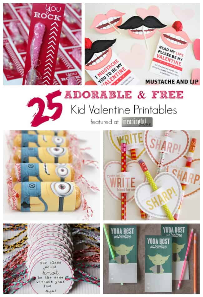 25 adorable free kid valentine printables