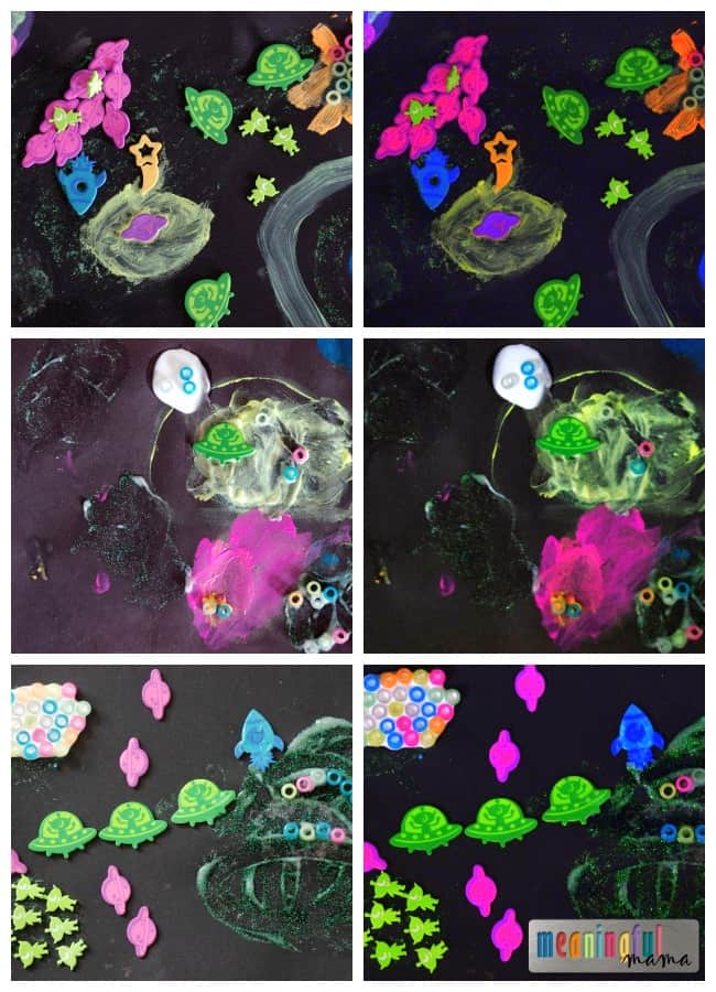 glow in the dark space scene craft kids paint