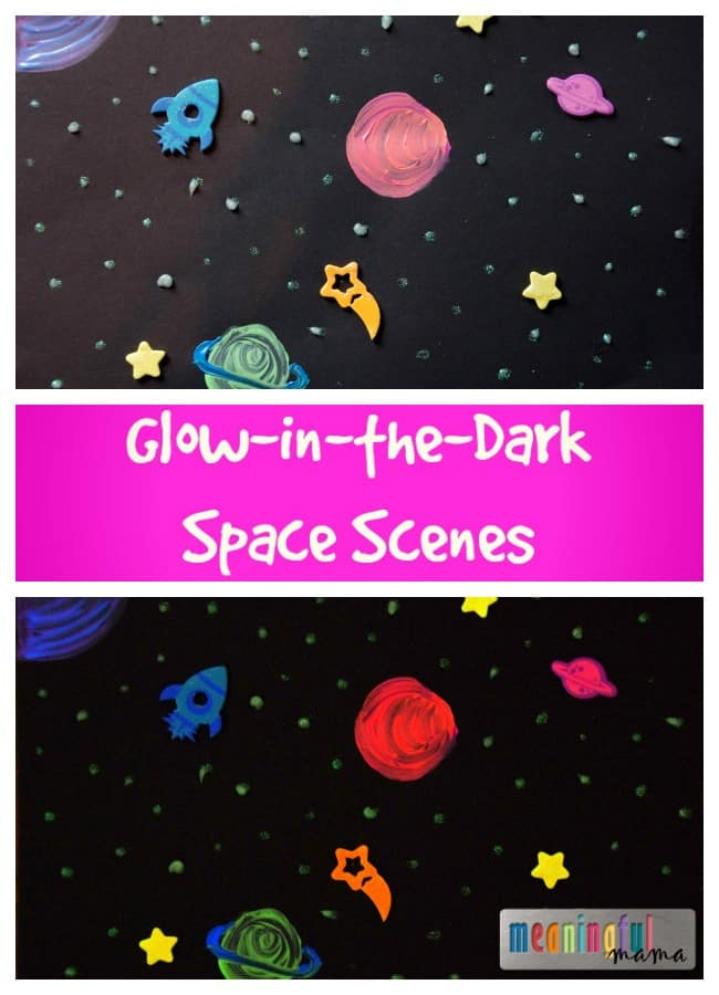 glow in the dark space scenes