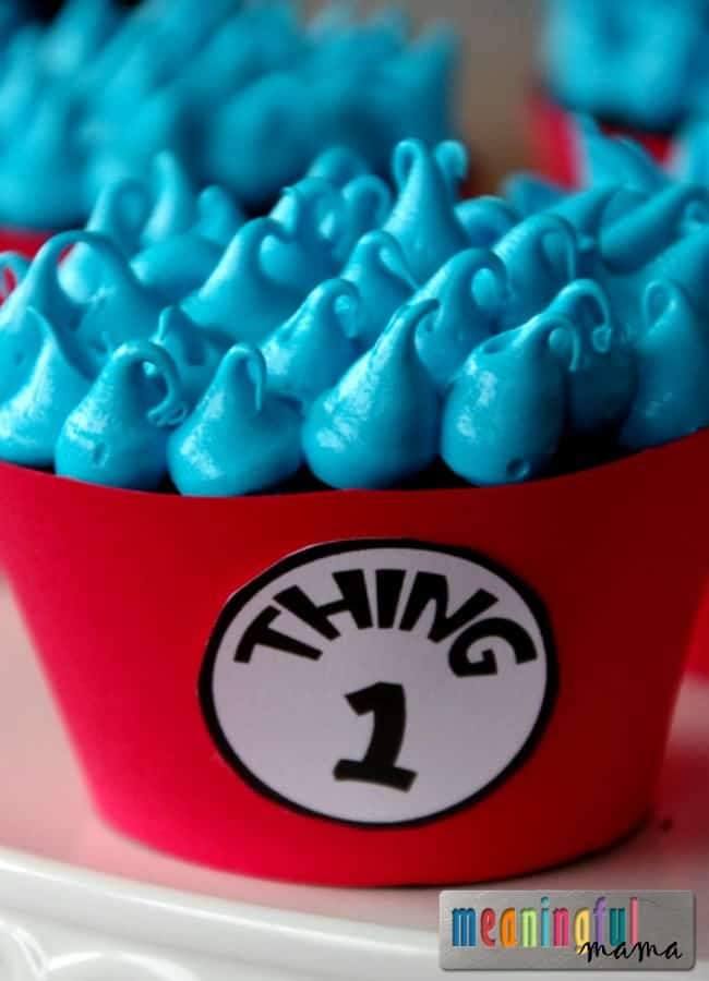 Dr. Suess Day Cupcakes - Thing 1 and Thing 2