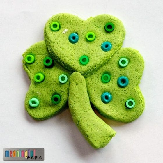 salt dough St. Patrick's day clover craft