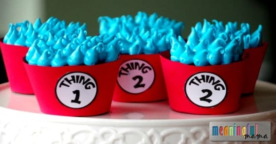 Thing 1 and Thing 2 Dr. Suess Cupakes for Dr. Suess Day