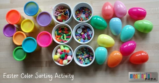 Easter Play-Doh Color Sorting Activities for Kids