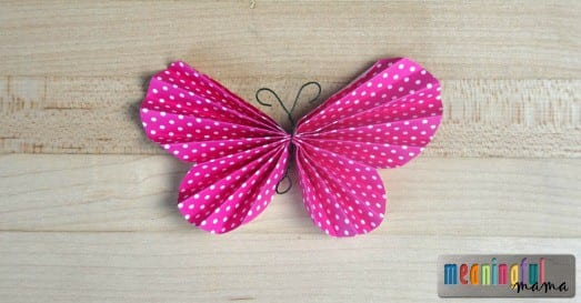 Folded Paper Butterfly Template and Tutorial