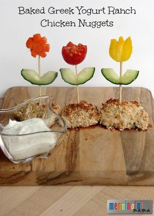 Baked Greek Yogurt Ranch Chicken Nuggets Recipe with Flower Vegetables