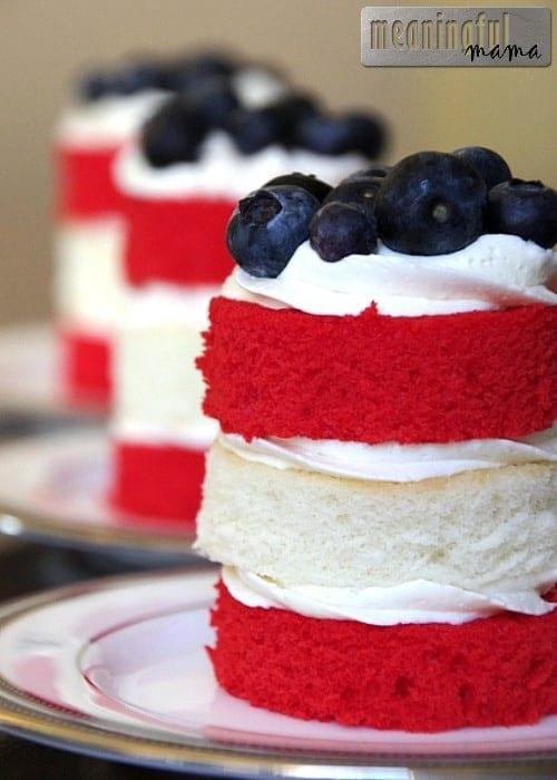 Fourth of July Stacked Mini Cakes - Fourth of July Dessert Recipes