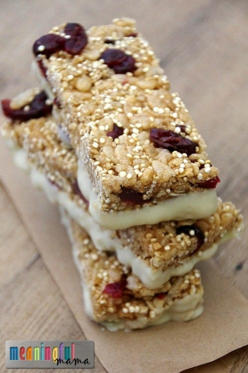 Homemade Cranberry, Quinoa, White Chocolate Nature Valley Granola Bars