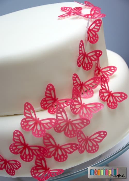 Pink Butterfly Birthday Cake Using Rice Paper Butterflies