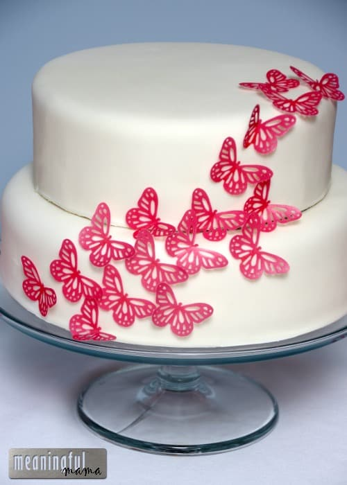 Pink and White Butterfly Cake Tutorial