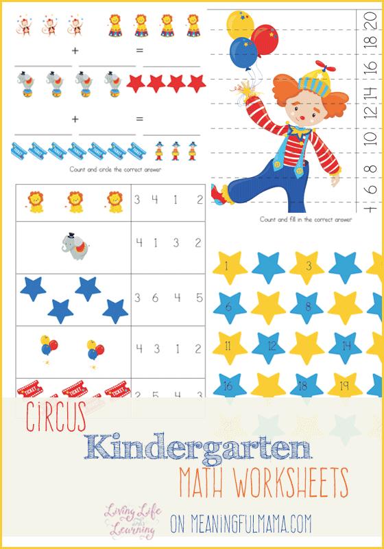 Circus Kindergarten Math Worksheets - Meaningfulmama.com