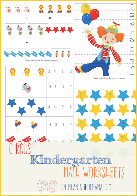Number Names Worksheets kinder worksheets math : Circus Kindergarten Math Worksheets