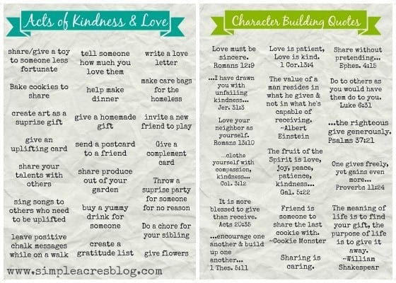 Acts of Kindness and Character Building Activities for Kids