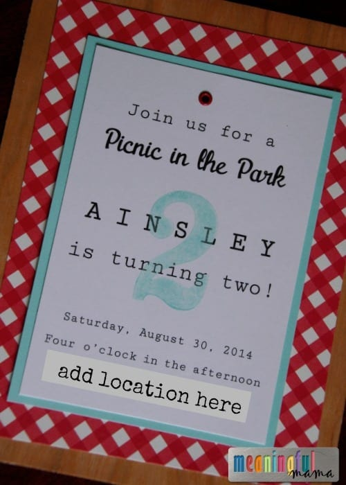 Picnic Birthday Party Invitation - DIY