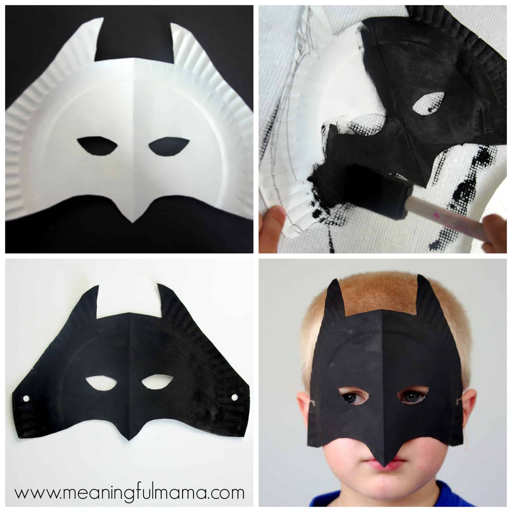 Batman Paper Plate Mask Tutorial & Superhero Paper Plate Masks
