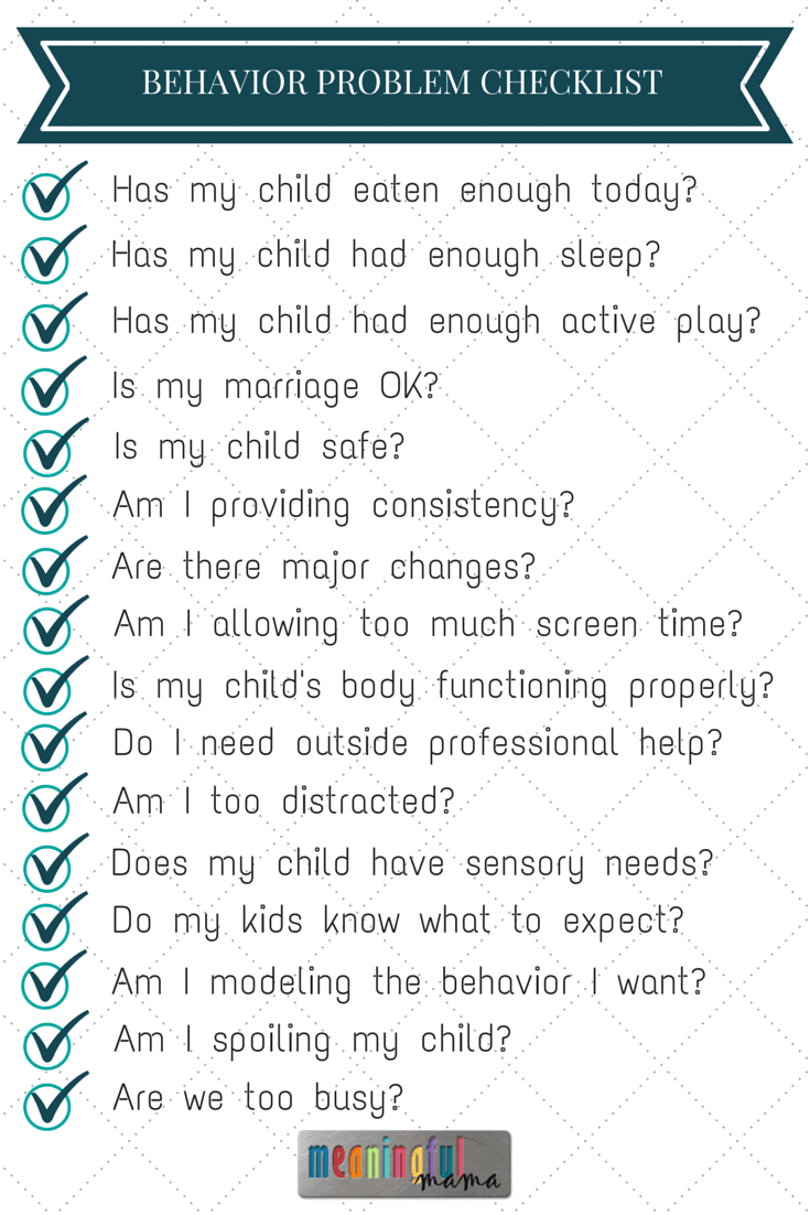 behavior problems check list behavior problems checklist
