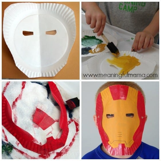 Superhero paper plate masks for Iron man face mask template