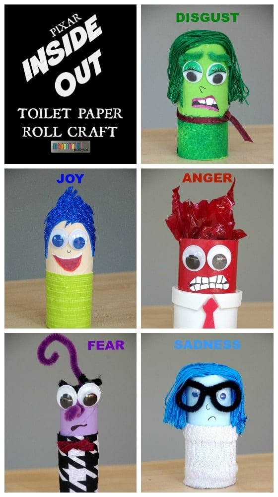 Pixar inside out toilet paper roll craft for Crafts to make out of toilet paper rolls