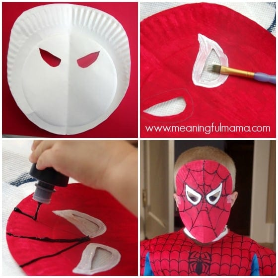 Spiderman Paper Plate Mask Tutorial and Template - Meaningfulmama.com
