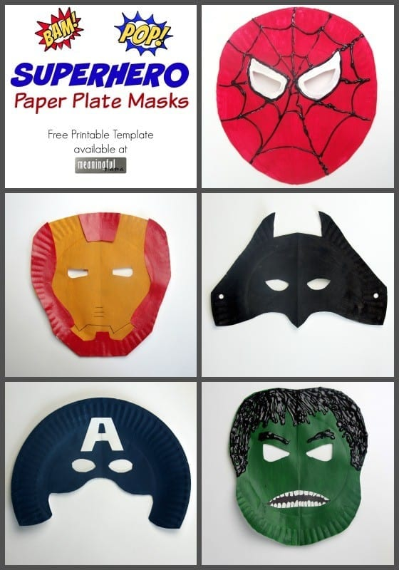 Superhero paper plate masks for Superhero mask template for kids