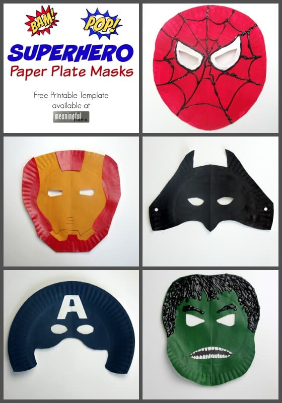 graphic regarding Superhero Printable Mask named Superhero Paper Plate Masks