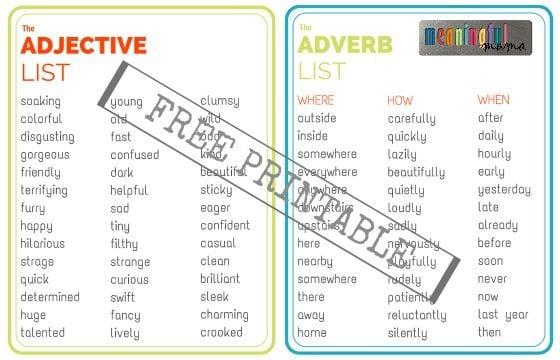Adjective and Adverb List - Free Printable