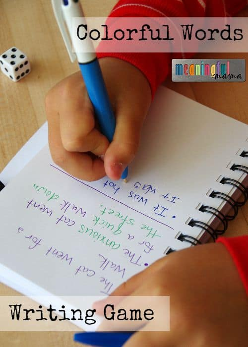 Colorful Words Writing Game - Adjective and Adverb Printable Included