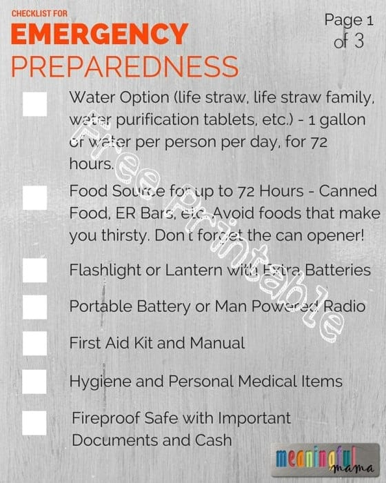 Emergency Kit - Free Printable
