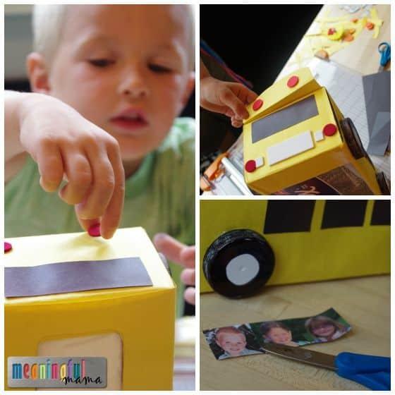 School Bus Back to School Craft Using a Kleenex Box