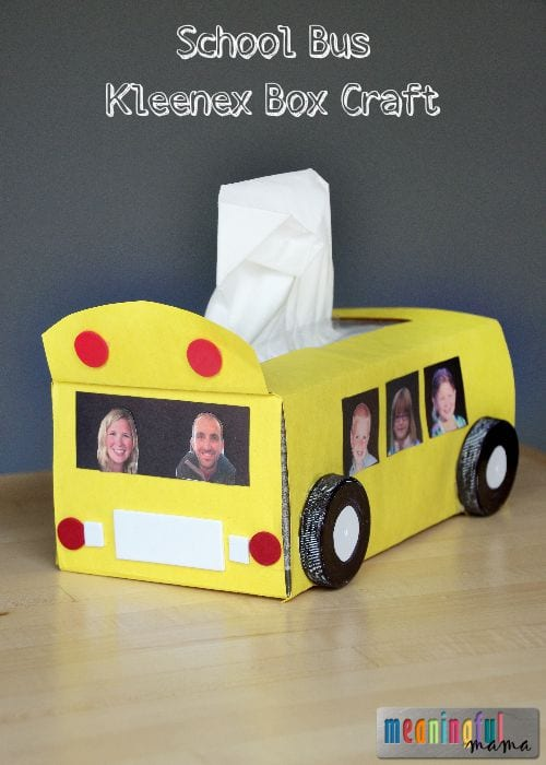 School Bus Kleenex Box Craft - Great Back to School Craft for Kids