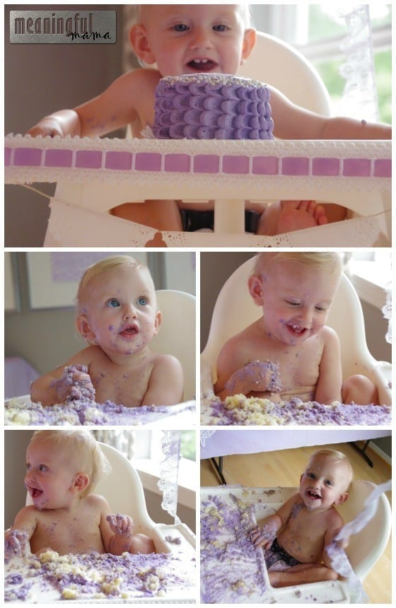 Child Eating Cake - Lavender First Birthday