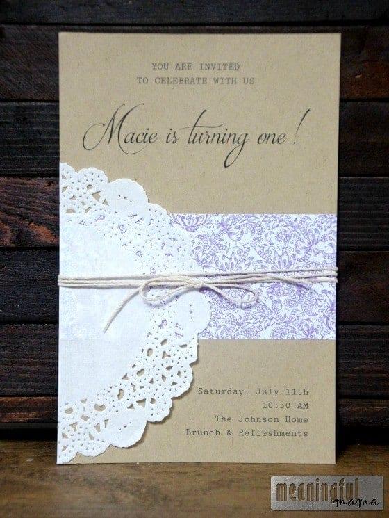 First Birthday Invitation - Lavender, Lemon and Lace Jul 10, 2015, 4-25 PM