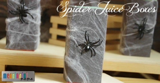 Spider Juice Boxes - Food and Drink Ideas for Halloween and Harvest