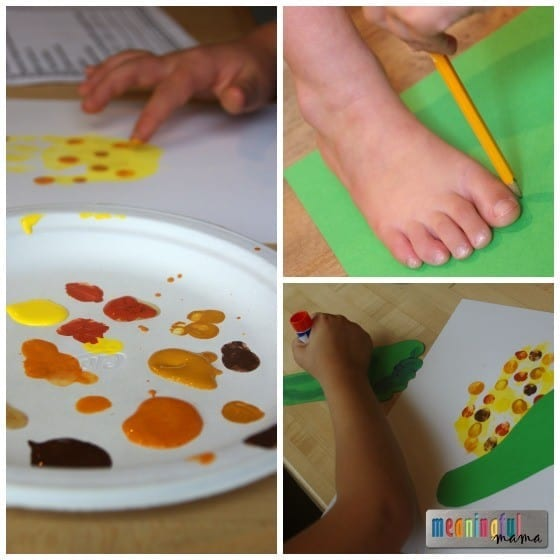 Indian Corn Craft for Kids Using Handprints and Footprints